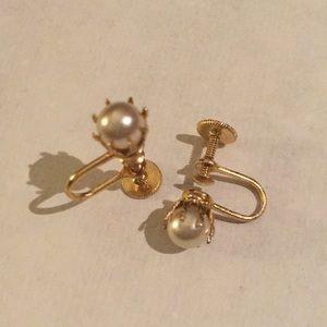 Clip on faux pearl earrings